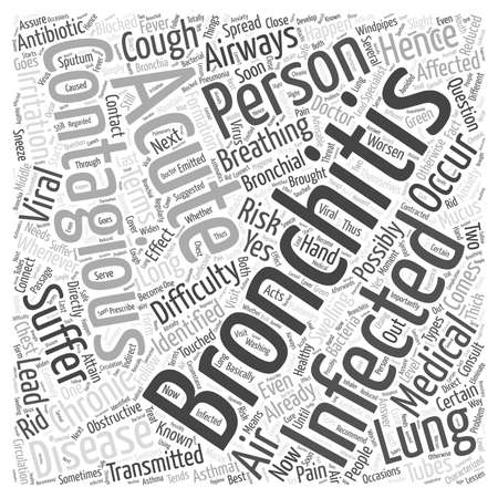 contagious: How long is bronchitis contagious Word Cloud Concept. Illustration