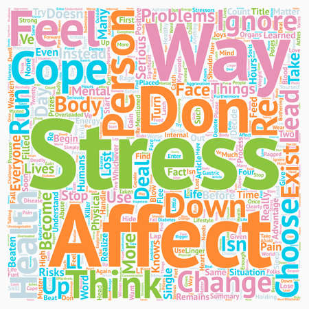 How Stress Affects A Person text in a wordcloud concept