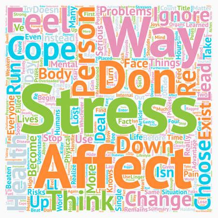 Cómo el estrés afecta a un concepto de wordcloud de fondo de texto de una persona