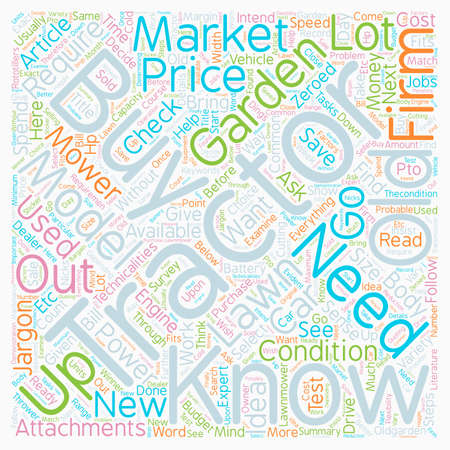 How And Where To Buy Used Lawn Tractors text background wordcloud concept
