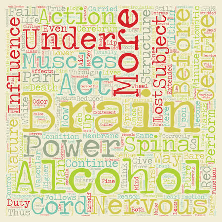 HOW ALCOHOL AFFECTS THE BRAIN text background wordcloud concept