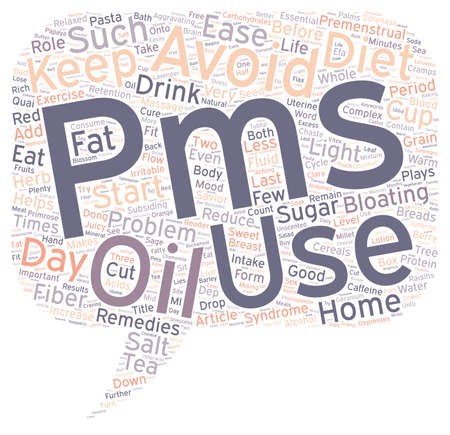 pms: Home Remedies For Premenstrual Syndrome PMS text background wordcloud concept