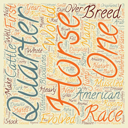 Horse Breeds American Quarter Horse text background wordcloud concept