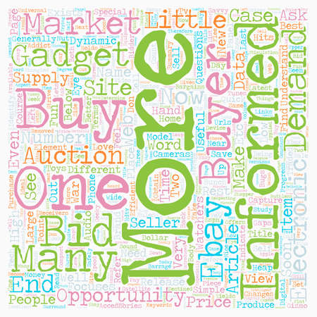 How to buy brand name gadgets for bargains on the dollar text background. Illustration