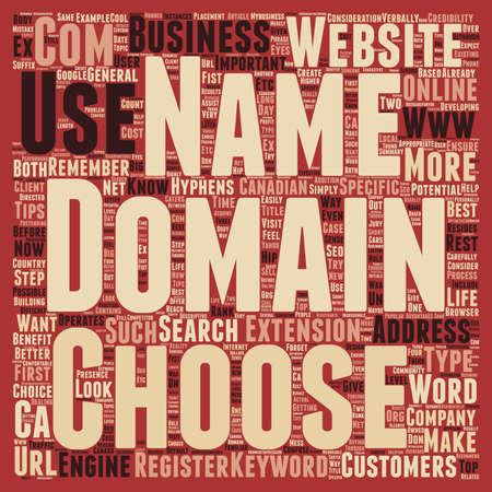 Come scegliere un nome di dominio per il testo Business concept background wordcloud Vettoriali