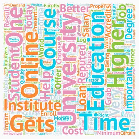 How to choose the right online university text background wordcloud concept