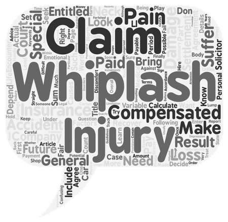 Hoe kunt u uw Whiplash Claim tekst achtergrond wordcloud begrip Bereken