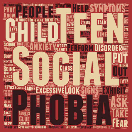 How to Identify Social Anxiety in Teens text background wordcloud concept Çizim