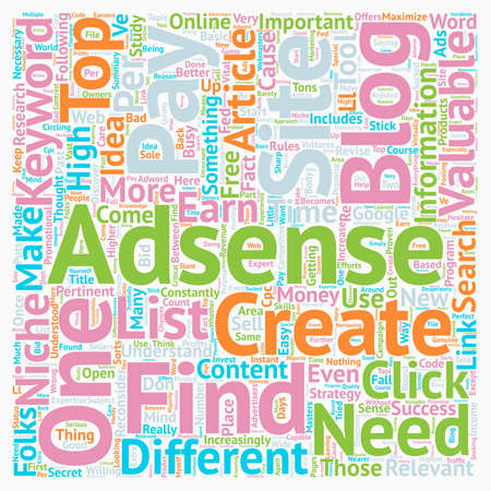 How To Find Your Own Valuable Adsense Keywords For Free text background wordcloud concept