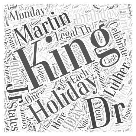 Dr マーチン ・ ルーサー ・ キング Jrs 誕生日単語雲概念を祝っている夢があります。  イラスト・ベクター素材