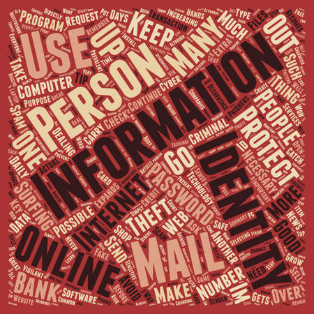 How to protect your identity online text background word cloud concept Ilustração