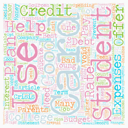 financially: Student Credit Cards Help text background wordcloud concept