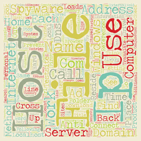 conjunction: Host file ip use text background wordcloud concept
