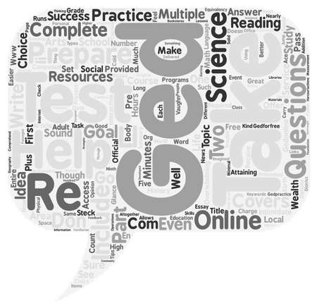 Preparing GED text background word cloud concept Illustration