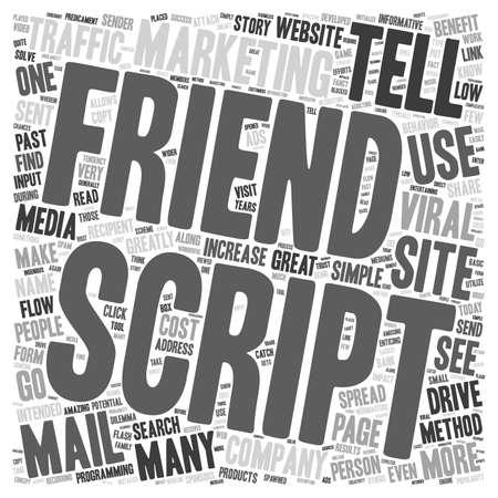 predicament: Friend Script text background wordcloud concept Illustration