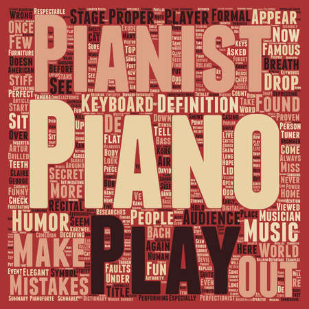 Pianist text background word cloud concept Illustration