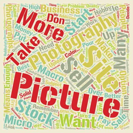 How To Sell Your Pictures As Stock Photography text background wordcloud concept Ilustração
