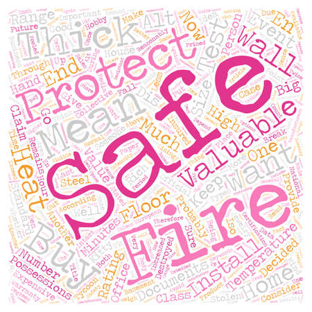 protect safe fire text background wordcloud concept