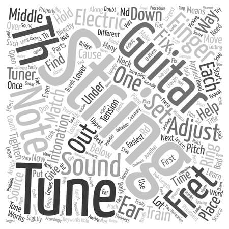 intonation: Tune string Electric Guitar text background wordcloud concept
