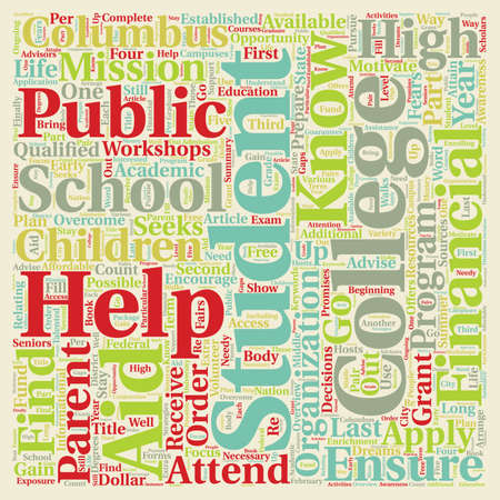 public school student college program text background wordcloud concept