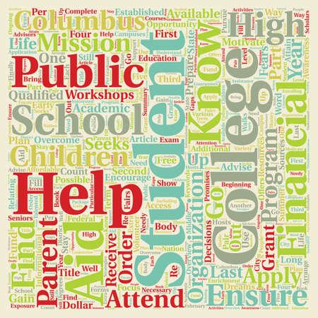 public school student college program text background wordcloud concept