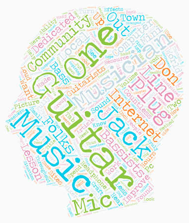 Guitar Or Bass music text background wordcloud concept Illustration