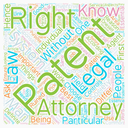 Patent Attorney text background wordcloud concept Illustration