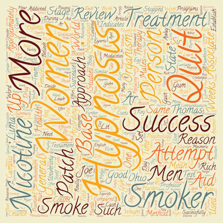 Hypnosis Helps Men Quit text background wordcloud concept