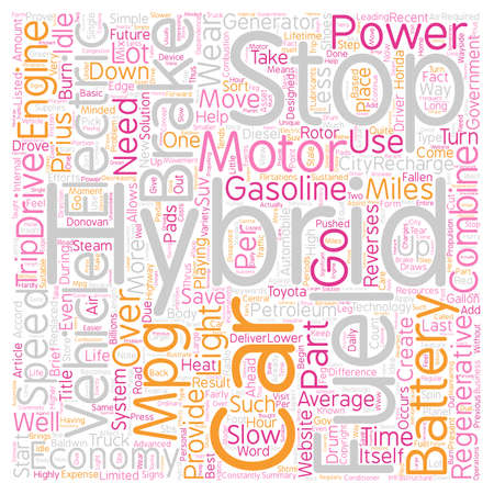 Hybrid Car text background wordcloud concept