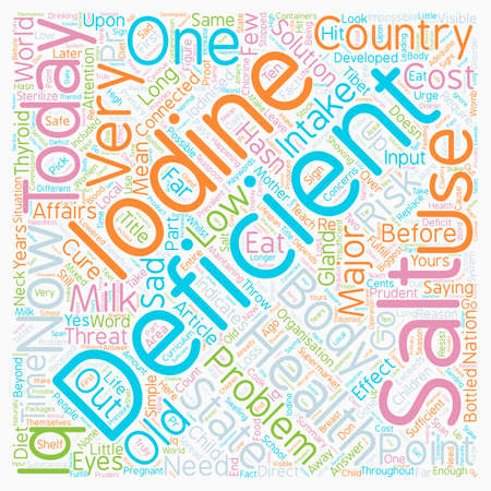 iodine: Iodine Deficiency The Biggest Health Threat Today text background wordcloud concept Illustration