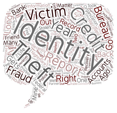 long recovery: Identity Theft Recovery The Road Back text  wordcloud concept Illustration