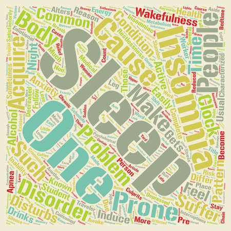 Insomnia why suffer in silence text background wordcloud concept Ilustração