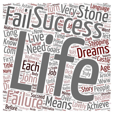 IN SUCCESS LANGUAGE FAILURE MEANS YOU ARE ALMOST THERE text background wordcloud concept Illusztráció