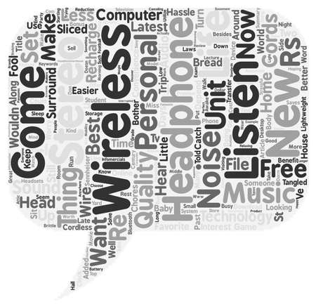hassle: In The 21st Century With Wireless Stereo Headphones text background wordcloud concept