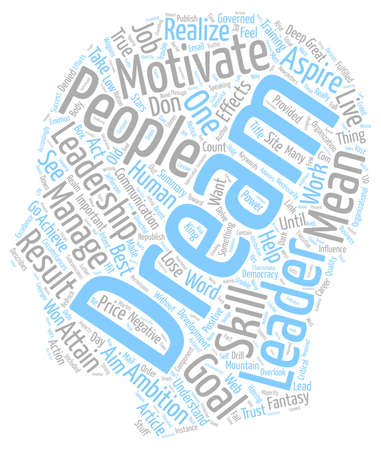 In Leadership Dreams Are The Stuff That Great Results Are Made Of text background wordcloud concept