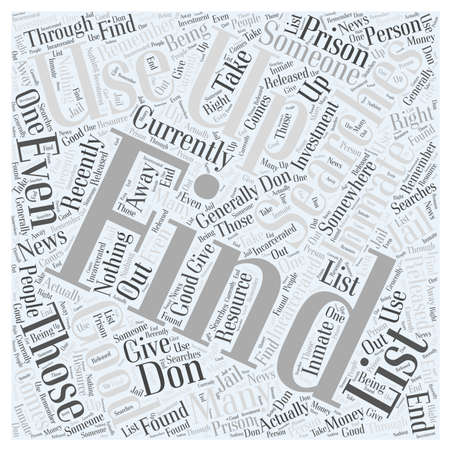 listings: inmate searches Word Cloud Concept Illustration