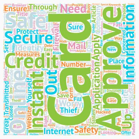 インスタント承認クレジット カード オンライン、彼ら、安全テキスト背景 wordcloud コンセプト  イラスト・ベクター素材