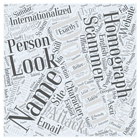 Internationalized Domain Names and Homograph Attacks Word Cloud Concept