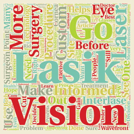 Is LASIK Right for Me text background wordcloud concept Ilustrace