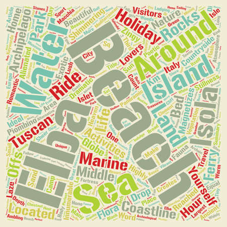 Isola d Elba beach holidays Sheer heaven for nature Lovers text background wordcloud concept