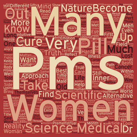 premenstrual syndrome: Is your PMS a curse that pushes you to buy a cure at any price text background wordcloud concept Illustration