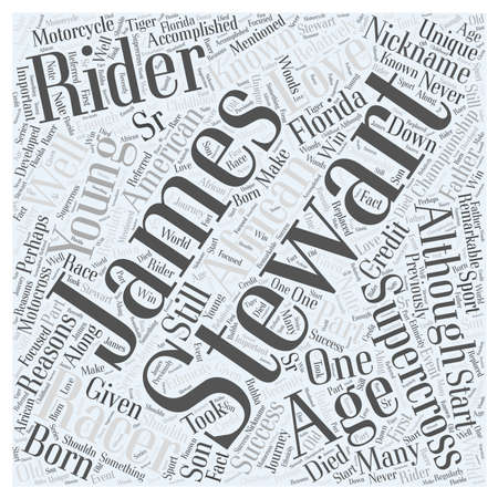 supercross: James Stewart A Well Known Championship Supercross Rider Word Cloud Concept Illustration