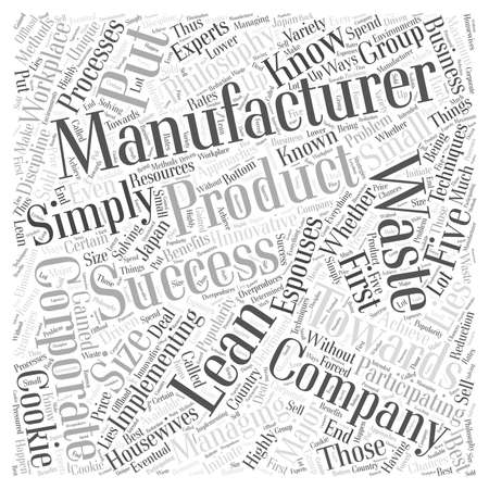 managing waste: Lean manufacturing success Word Cloud Concept