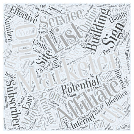 JP building opt in list and affiliate marketing Word Cloud Concept