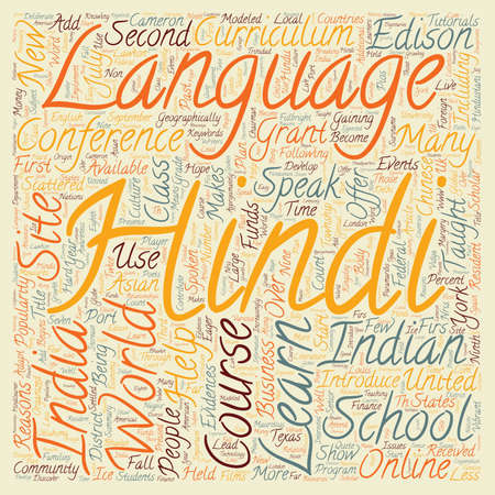 Learn Hindi Language Online text background wordcloud concept