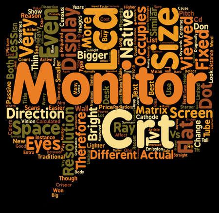 LCD vs CRT Monitor Comparison text background wordcloud concept Illustration