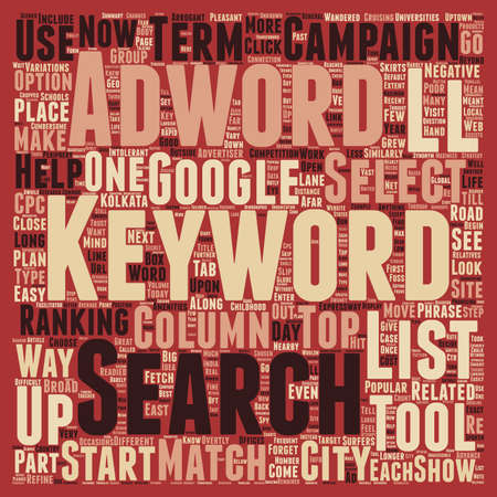 Keywords trust adwords text background wordcloud concept Illustration