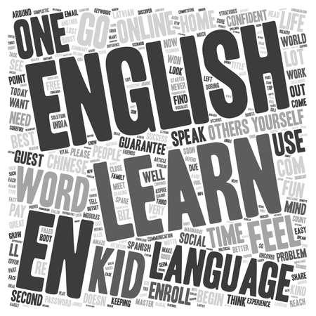 Leer Engelse tekst achtergrond wordcloud concept Stock Illustratie