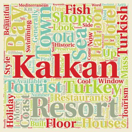 Kalkan Holiday Resort in Turkey text background wordcloud concept