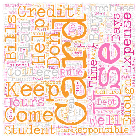 Keep College Student Credit Cards Under Control text background wordcloud concept